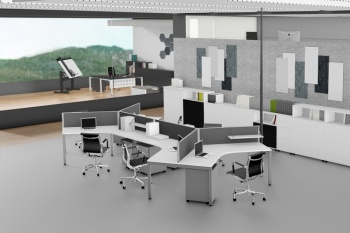 Plaza 120 degree workstations