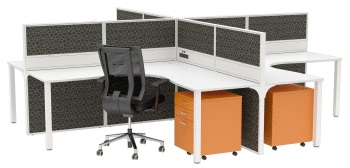 Cubit Corner Workstation with Cubit 50 Floor Standing Screen