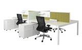 Cubit desks with Connect 30 desk mounted screens with accessory panel