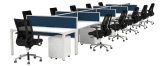 Cubit desks with Connect 30 desk mounted screens and return screens