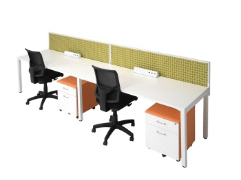 Cubit desks with rear mounted solid screens