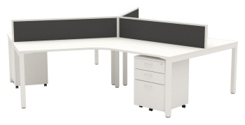 Cubit 120 degree workstations with Connect 30 desk mounted screens