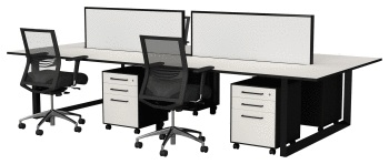 Quantum back to back system with desk mounted melamine screen
