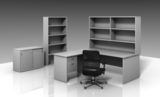 DDK Classic Panel End Desk with Return, Hutch and Bookcase
