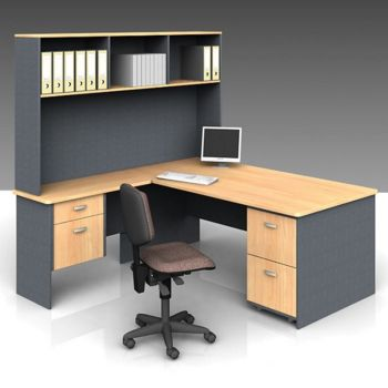 ddk classic panel end desk with return hutch