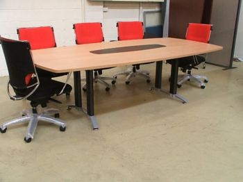 DDK Crown Beech Laminate Boardroom Table with Black Vinyl Insert