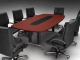 DDK Redgum Laminate Boardroom Table with Vinyl Insert