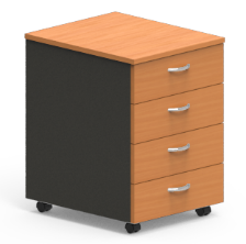 Mobile Pedestal - 4 Shallow Drawers