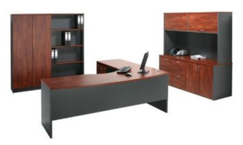 Excel Radial Workstation and Cupboards