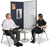 Mobile Room Divider with Whiteboard and Pinboard