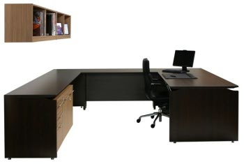 Vantage V2 U-Shaped Desk Setting with Wall-Mounted Shelf Unit